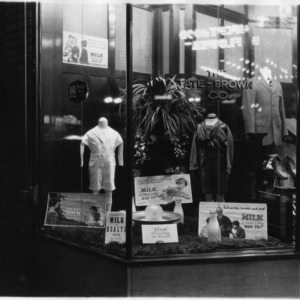 Storefront window display at the Tate-Brown Company, Part of promotional milk campaign