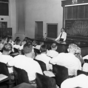 Ballentine Address the Flock selection and blood testers' school, 1949