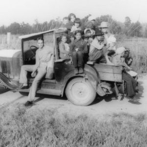 Farm Children Riding in Truck