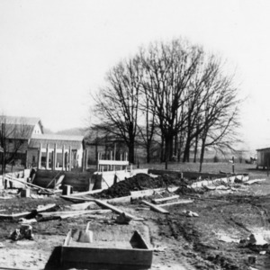 Foundation for laying house, Brevard College, 1943