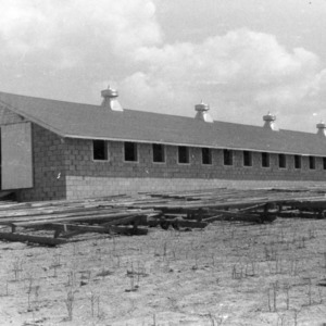 Brooder house with roosting poles on skids