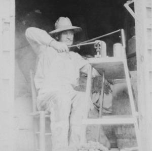 J.W. Meyers craking black walnuts