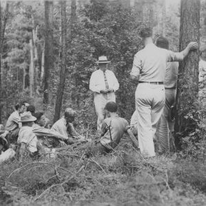 Farm boys studying farm management of farm woods.