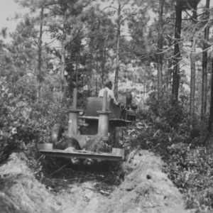Fire-line plowing at Forest Camp