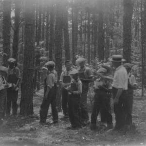Timber estimating at Rowan County Boys' and Girls' Club encampment