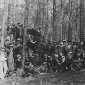 Farmers and Students at forestry meeting and timber thinning demonstration