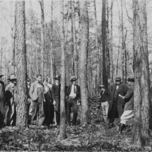Farmers meeting at the forest thinning and management demonstration at the farm of A.F.  Hunt, Glenwood Community, McDowell County