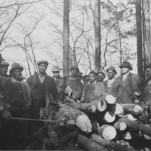 J.R. Redding, agent of Granville County pointing out to farmers the wood cut from a thinning operation on the farm of Willie Peace, Oxford, N.C.