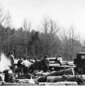A pulp wood operation at Hill Demonstration, using the Council-Cilliam peeling machine