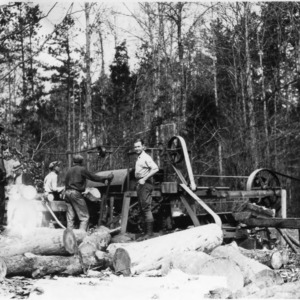 A pulp wood operation at Hill Demonstration, using the Council-Gilliam peeling machine