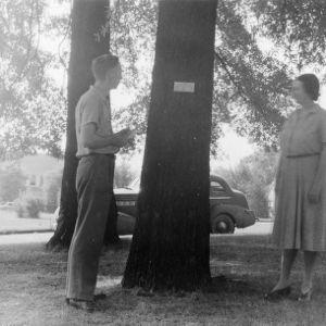 Reverand L. C. Bumgarner and Mrs. Charles B. Wagoner inspecting tree name plate