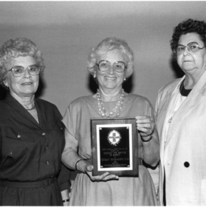 Audrey Moon, Willie Mae Currin, and Mary Harden with North Carolina Safety Award