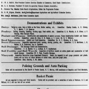 Detail of Annual Field Day and Picnic, Wilard, N. C., announcement