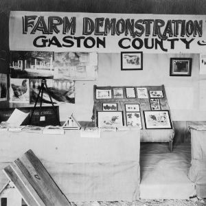 Farm demonstration work display for Gaston County at agricultural exhibition, 1919