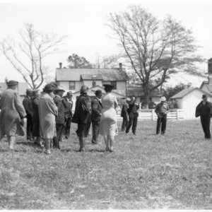 Group on lawn, farm tour, Bell's Island