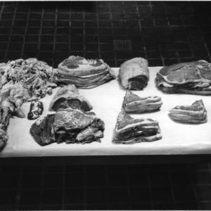 Cuts of beef, display of bone-in hindquarters