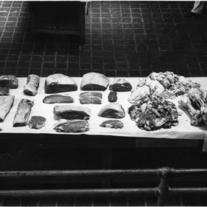 Cuts of beef, display of boneless hindquarters