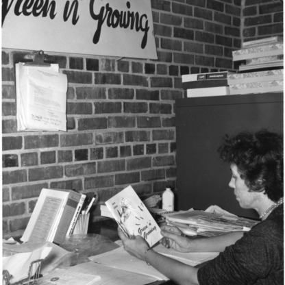 "Mrs. Dorothy Vanderbilt working on the new Home Demonstration magazine, ""Green 'n' Growing"""