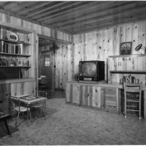 The Gradys' family room --- it has a view of the farm buildings and fields