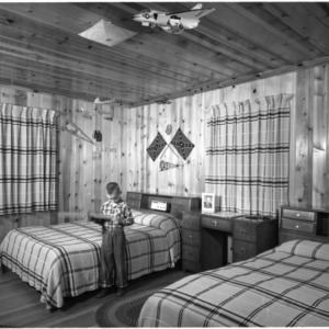 Eight-year-old Steve Grady in one of the boys' bedrooms