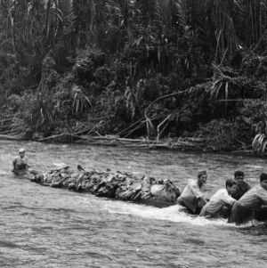 Laborers Pulling Canoe with Bananas, Tulumayo River, Peru