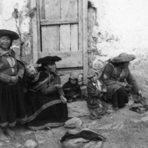 Native Peruvian women on a farm near Cusco