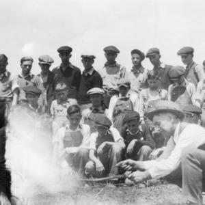 White Church 4-H Club checking survival on pine planting at farm of R.K. Bolick, Catawba County