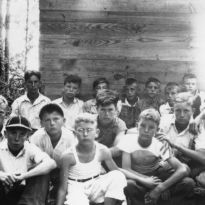 4-H Club boys from Martin and Edgecombe Counties, attending forestry lecture at Camp White Lake, summer, 1936