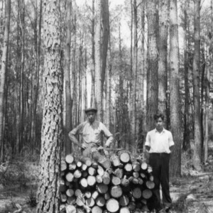 Hal Trott and his father standing beside a portion of the seven cords cut from Hal's timber thinning project