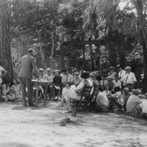 "Mr. Kirby is giving his celebrated ""Spiritual"" lecture before the Club Boys and Girls of Columbus County, August 1926"