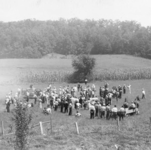 Haywood County Farmers observing the results from use of lime on the farm of Guy Chambers. Haywood County Farm Tour, 1938