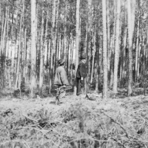 District agent and farmer in forest after forestry demonstration