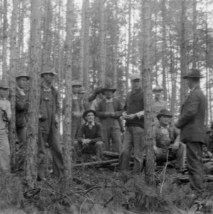 D. L. Thompson demonstrating timber thinning