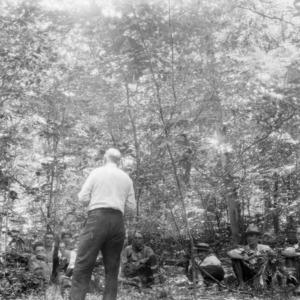 W. R. Mattoon speaking at woods meeting