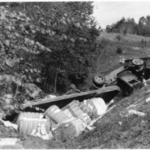 Truck wreck off highway