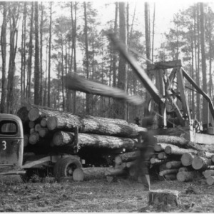 "A ""Boom-loader"" loading big logs from a selective cutting operation"