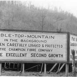 Sign for logging project of Champion Fibre Company