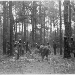 B. B. Everett instructing tenant farmers firewood cutting