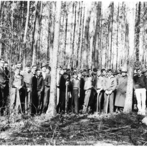 Farmers and vocational students at forest meeting and timber thinning demonstration