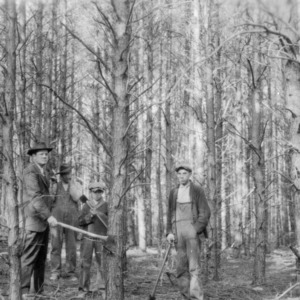 Agent J. Wade Hendricks discussing tree trimming with George Turbyfill, Emmett Turbyfill, and their father
