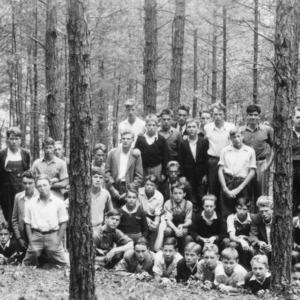 Barnardsville High School vocational class at timber thinning demonstration