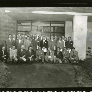 Group photograph in front of Forestry Building, Kilgore Hall