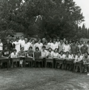 Wood Science group photograph with collection of small tables
