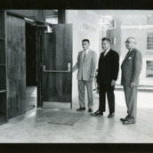 Dean James H. Hilton, Chancellor J. W. Harrelson, and Walter R. Langley (President of Forestry Club) in front of Forestry Building, Kilgore Hall