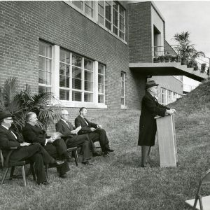 Faculty in front of Robertson Pulp and Paper Laboratories