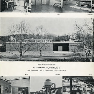 Wood Products Laboratory N. C. State College, Raleigh, N. C. : Job Completed 1960 - Construction Cost $250,000.00