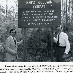 Chancellor Thomas and Voit Gilmore at Goodwin Forest
