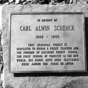 Carl Alwin Schenck memorial plaque