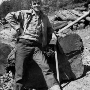 Forestry student in woods