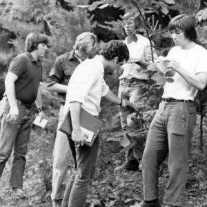 Students examine plants
